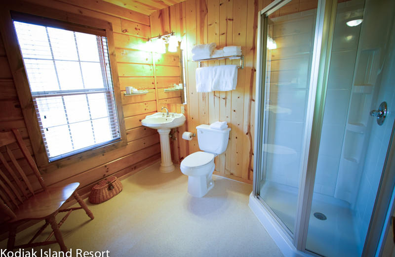 Guest bathroom at Alaska's Kodiak Island Resort.