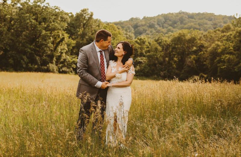 Wedding couple at Harpole's Heartland Lodge.