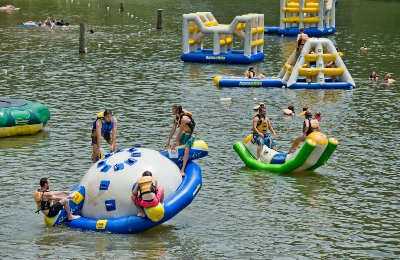 Water toys at ACE Adventure Resort.