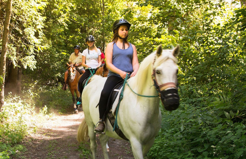 Horseback riding at Elmhirst's Resort.