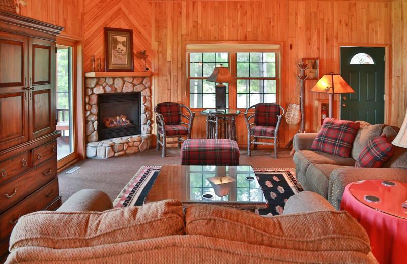 Guest cabin living room at Chippewa Retreat Resort.