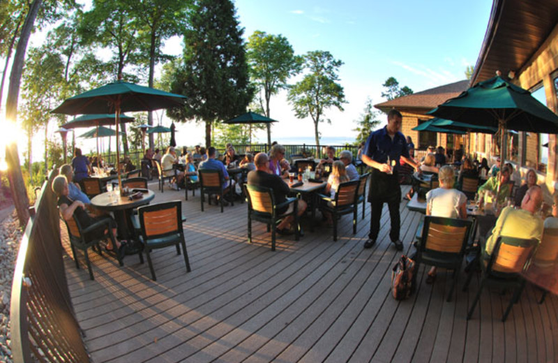 The Carrington Pub & Grill (at the Landmark Resort) features indoor and outdoor seating.