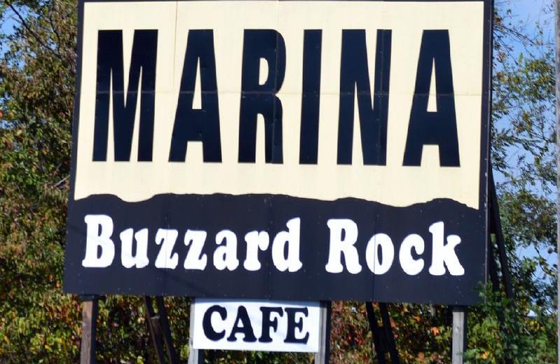 Buzzard Rock Resort and Marina sign.