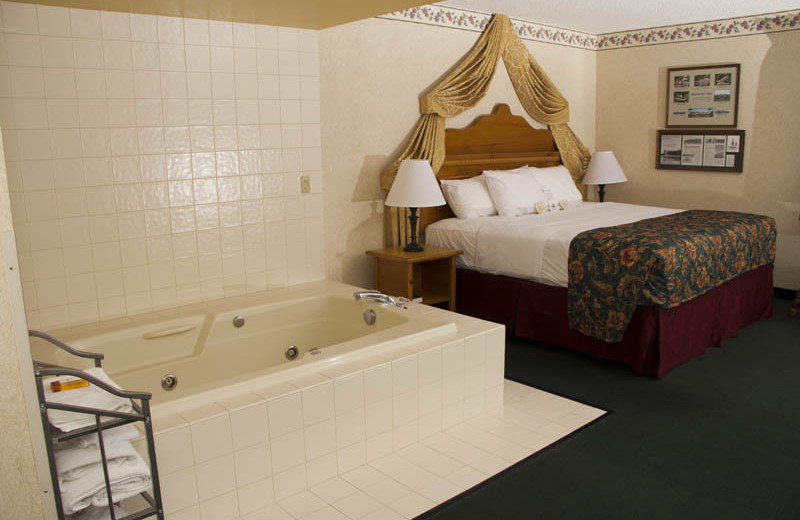 Guest room with hot tub at Bavarian Inn of Frankenmuth.
