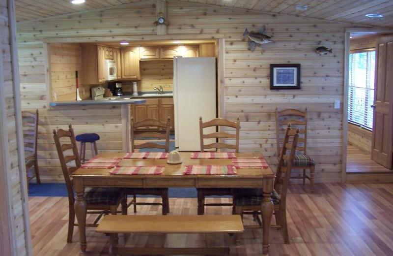 Cabin dining room at Sunshine Resort.