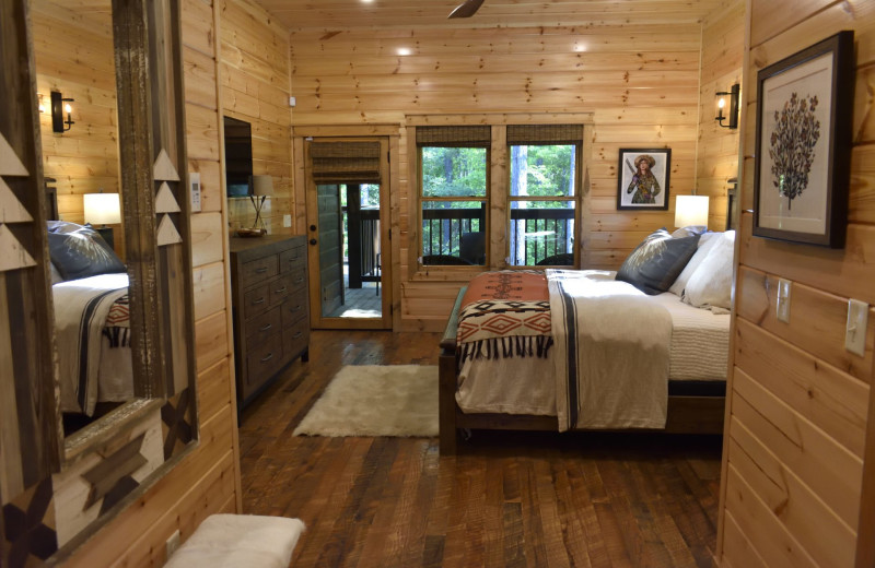 Cabin bedroom at White Glove Luxury Cabins.