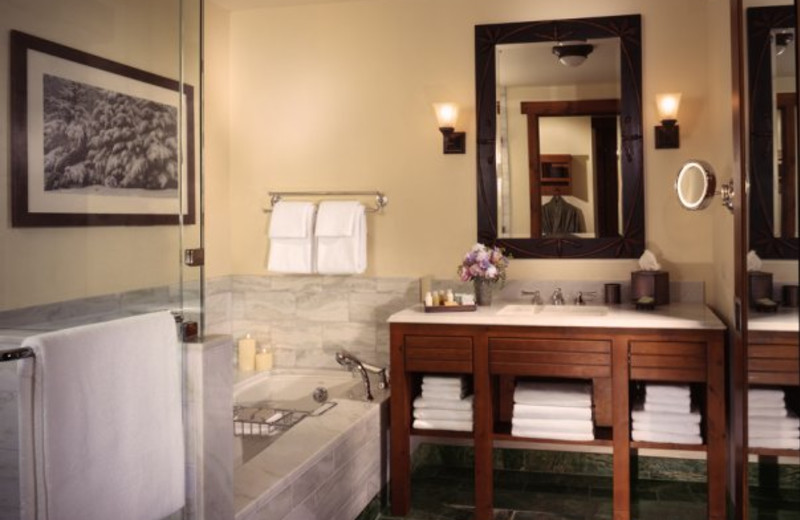 Guest bathroom at Stowe Mountain Lodge.