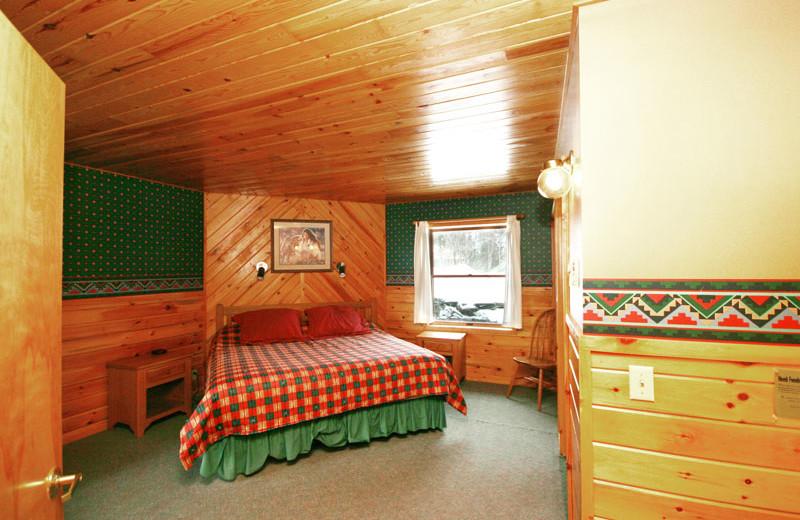 Cabin bedroom at Gunflint Lodge.