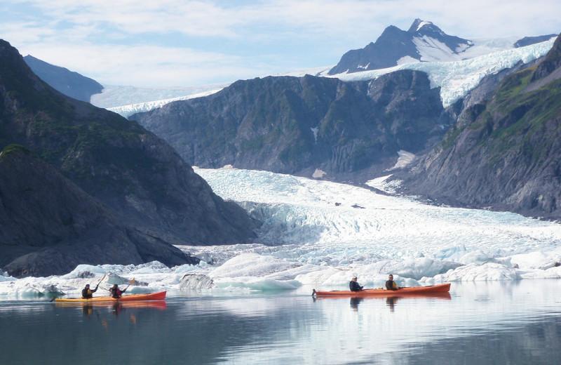 Canoes at Kenai Fjords Glacier Lodge.