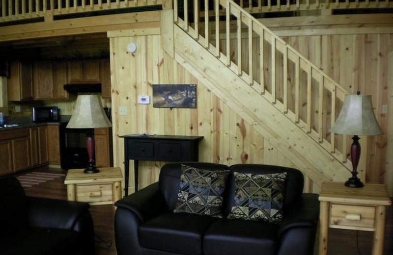 Cabin interior at Harman's Luxury Log Cabins.