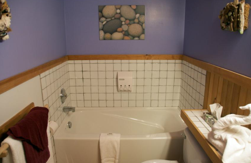 Cabin bathroom at The Cabins at Terrace Beach.