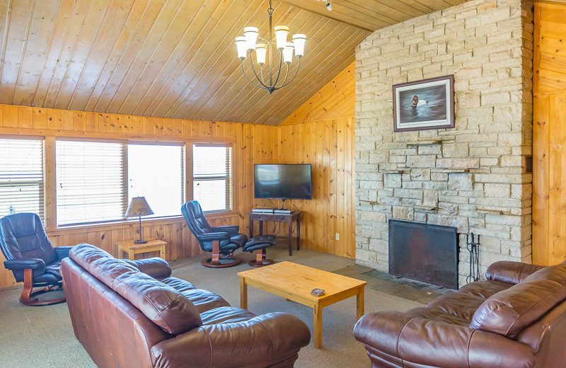 Cabin living room at Ten Mile Lake Resort.