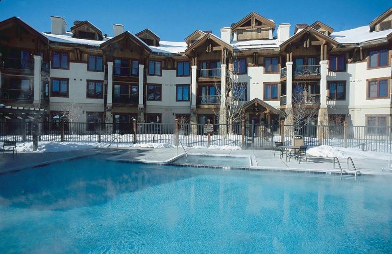 Heated outdoor pool at EagleRidge Lodge.