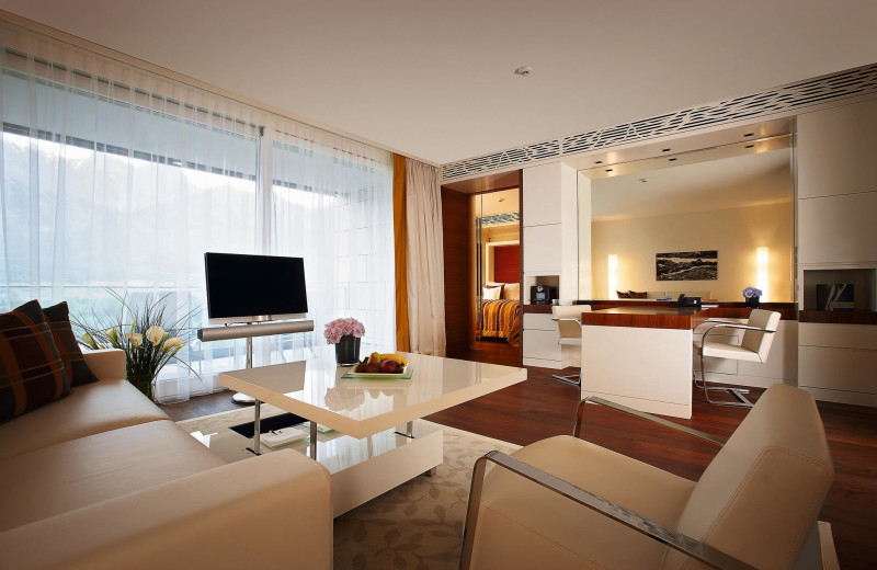 Guest room at Grand Hotels Bad Ragaz Switzerland.