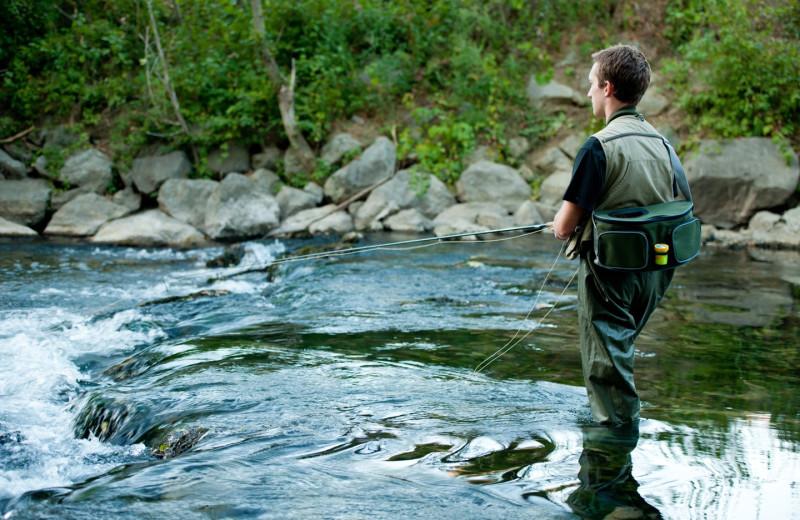 Fishing at Stowe Mountain Lodge.