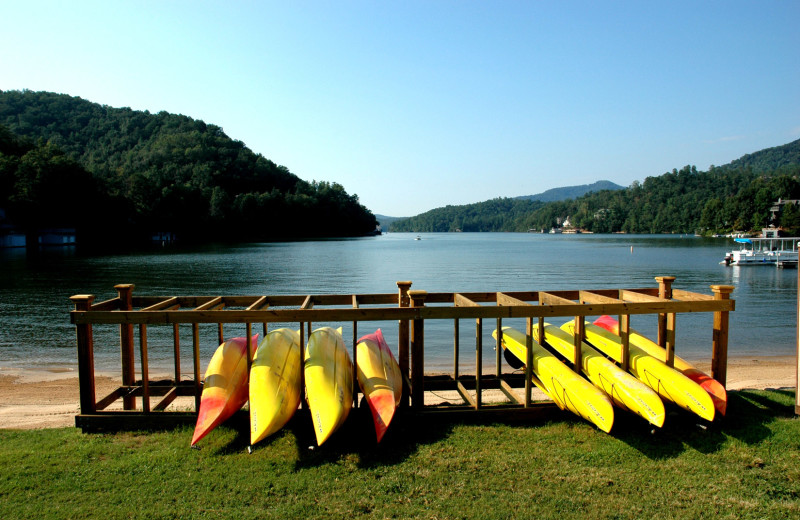 Canoes at Rumbling Bald Resort.