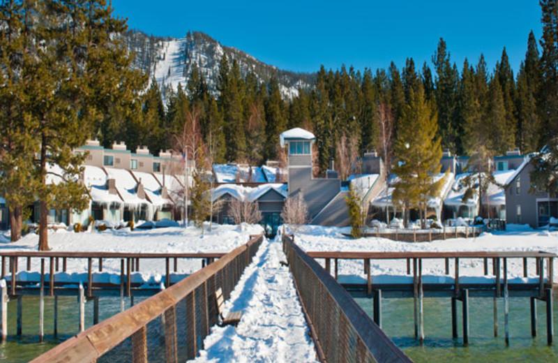 Exterior winter view at Aston Lakeland Village.