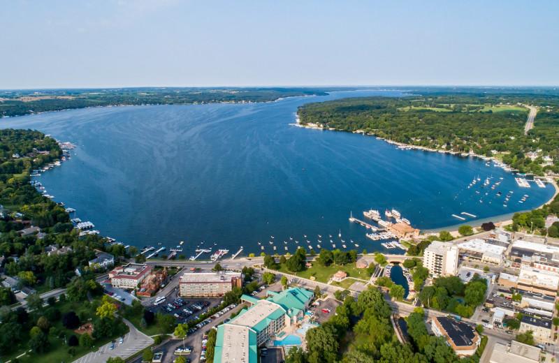Aerial view of Harbor Shores on Lake Geneva.