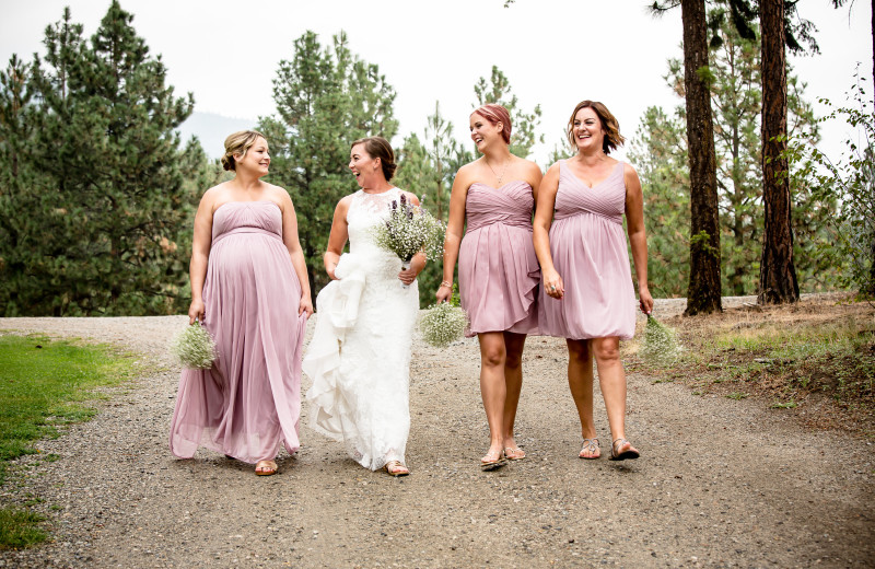 bride and bridesmaids going to reception