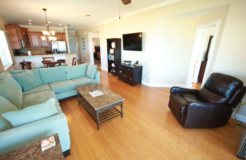 Rental living room at Plumlee Gulf Beach Realty.