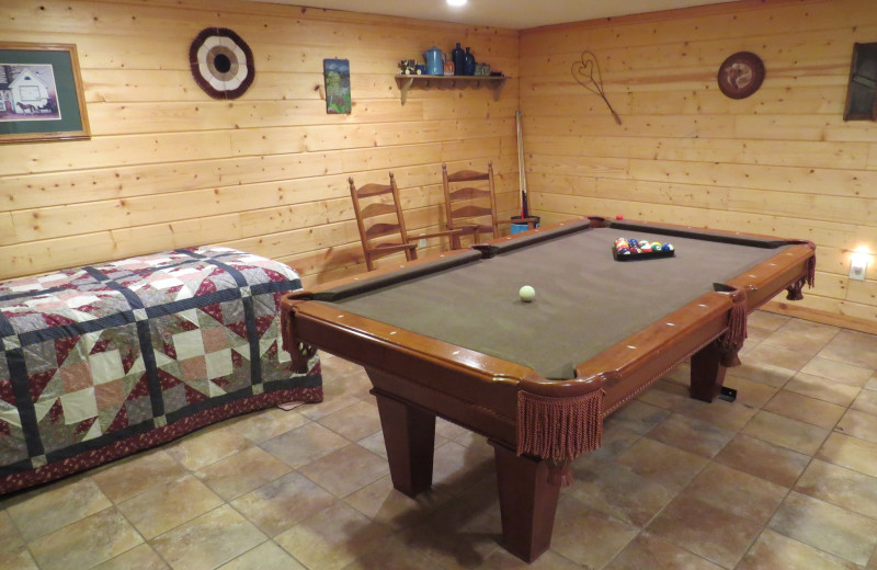 Cabin game room at Creeks Crossing Cabins.