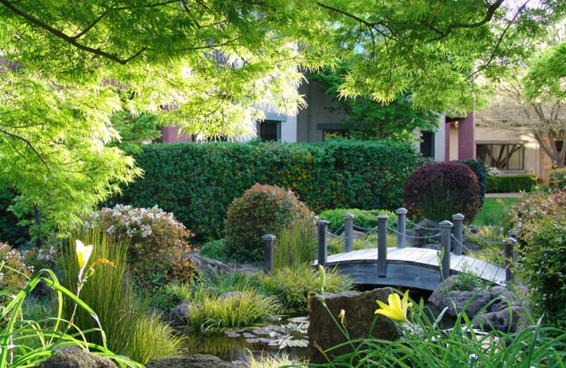 Garden view of Villagio Inn and Spa.