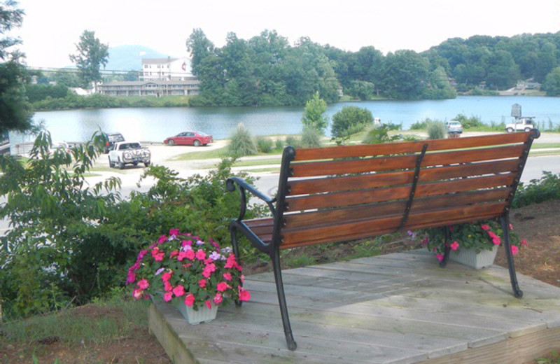 Relaxing view by the lake at Terrace Hotel Lake Junaluska.