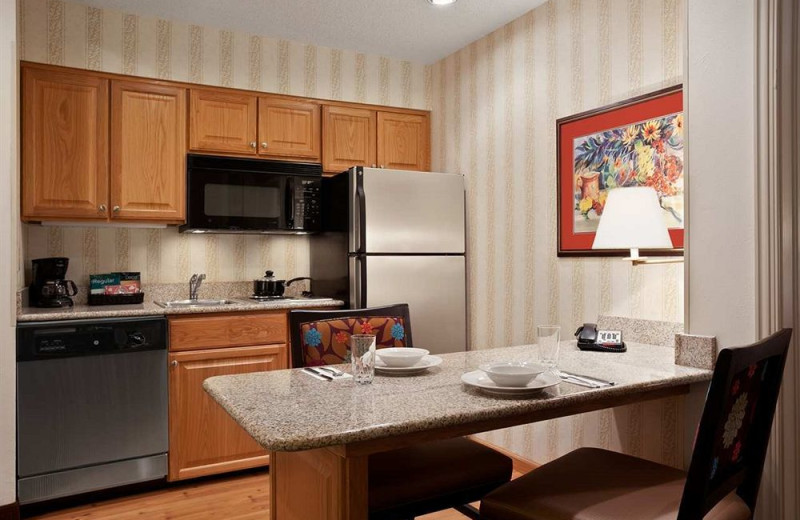 Guest kitchen at Homewood Suites by Hilton Ft. Myers Bell Tower Hotel.