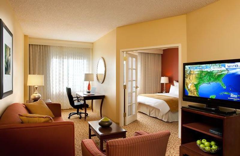 Guest room at Dallas Marriott Suites Market Center.
