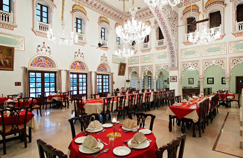 Dining at Laxmi Vilas Palace.