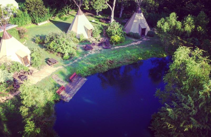 Aerial view of Geronimo Creek Retreat.