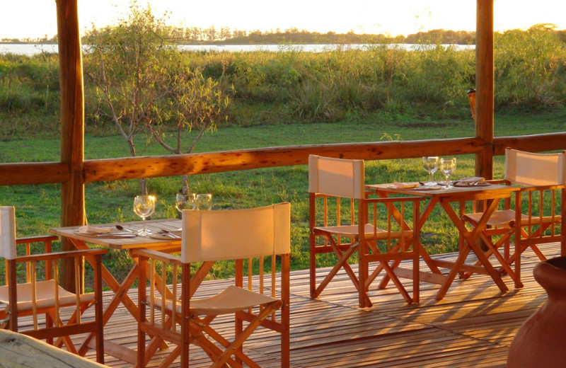 Dining at Irupe Lodge.