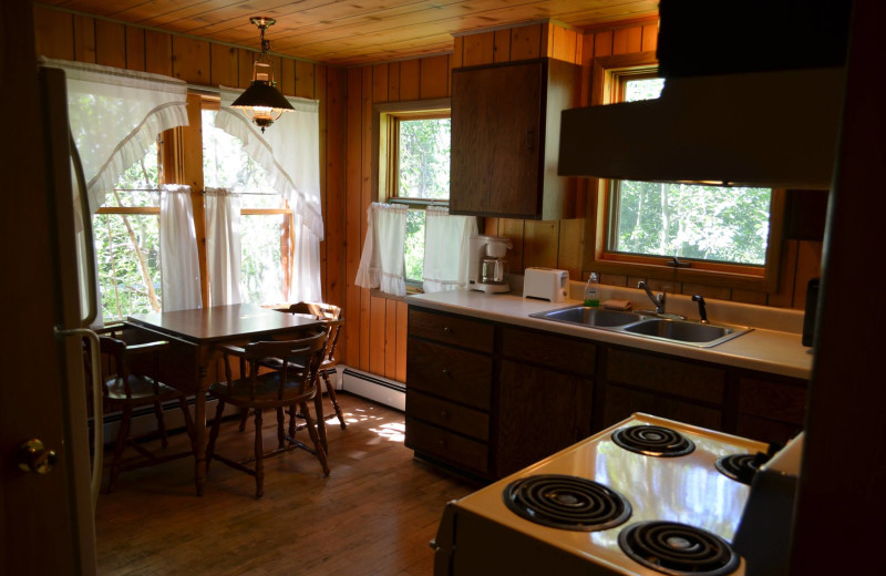 Cabin kitchen and dining room at Shoshone Lodge & Guest Ranch.
