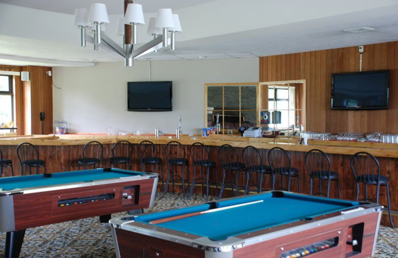 Fireside lounge pool tables at Thunderhart Golf Course.