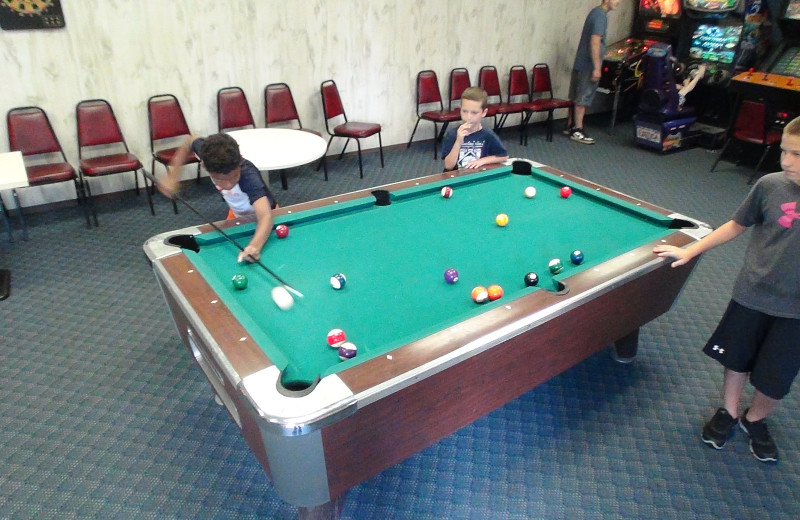 Game room at Pollace's Family Vacation Resort.