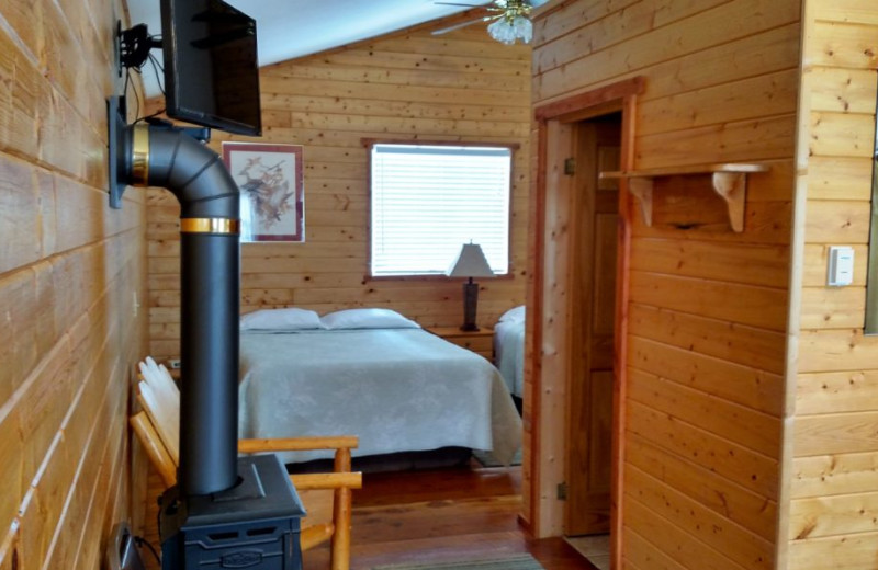 Cabin bedroom at Big Moose Resort.