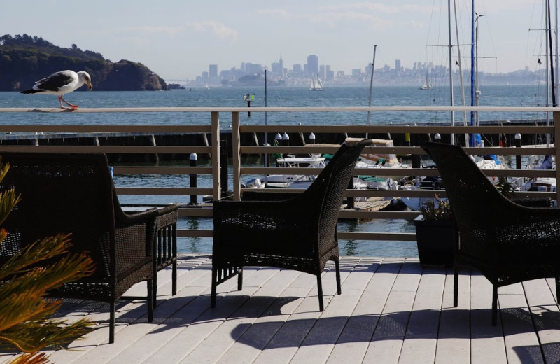 Patio view at Waters Edge Hotel Tiburon.