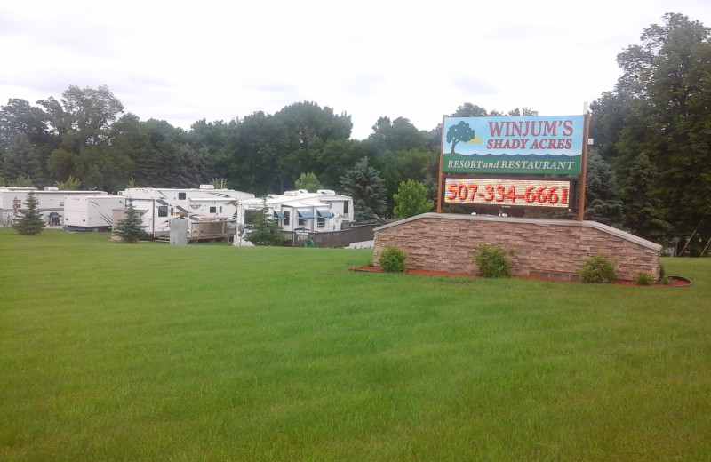 RV park at Winjum's Shady Acres Resort.