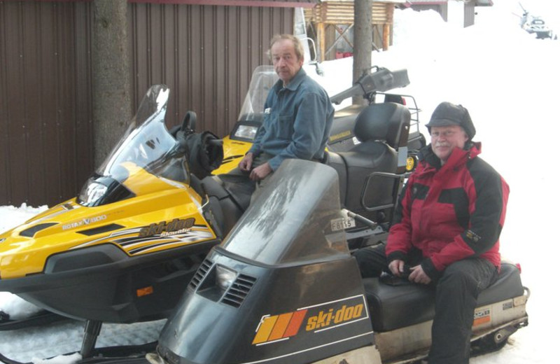Snowmobiling at Northwoods Lodge.