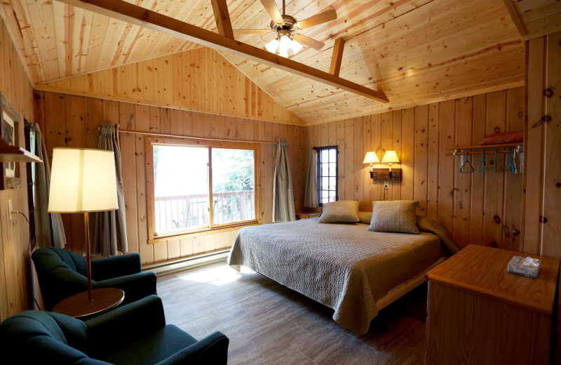 Cabin bedroom at Fair Hills Resort.