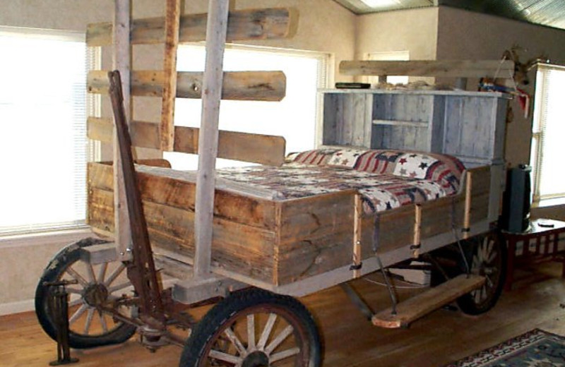 Wagon bed at K3 Guest Ranch.