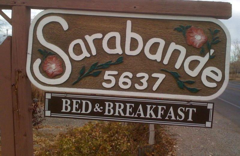 Sarabande Bed & Breakfast sign.