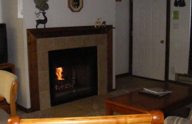 Fireplace at Copper Chase Condominiums.