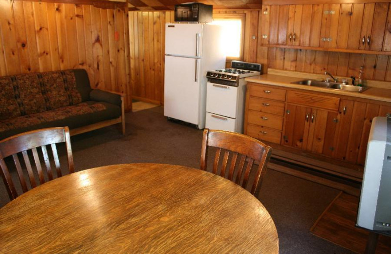 Cabin kitchen and dining room at Hook Line & Sucher Resort.