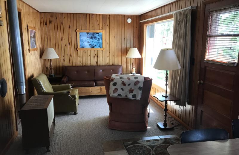 Cabin living room at Driftwood Resort.