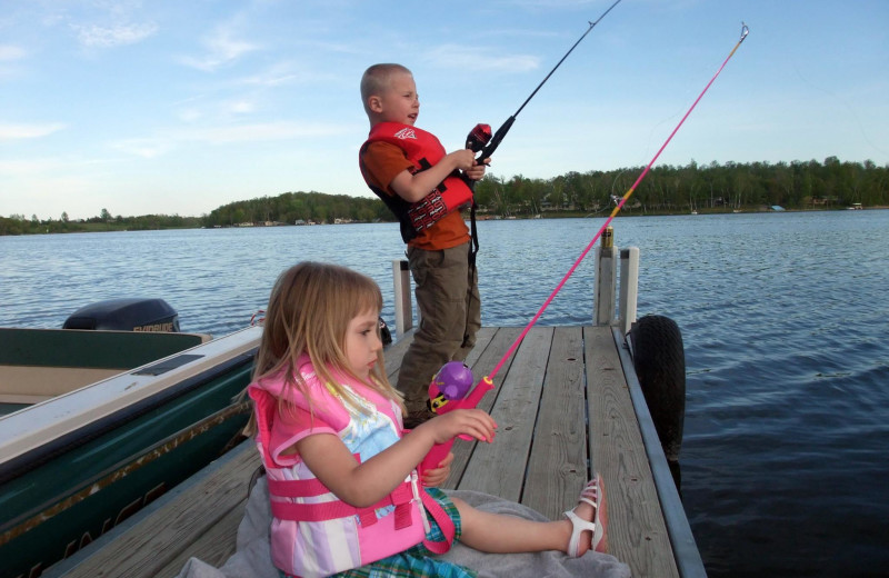 Kids fishing at Sybil Shores Resort.