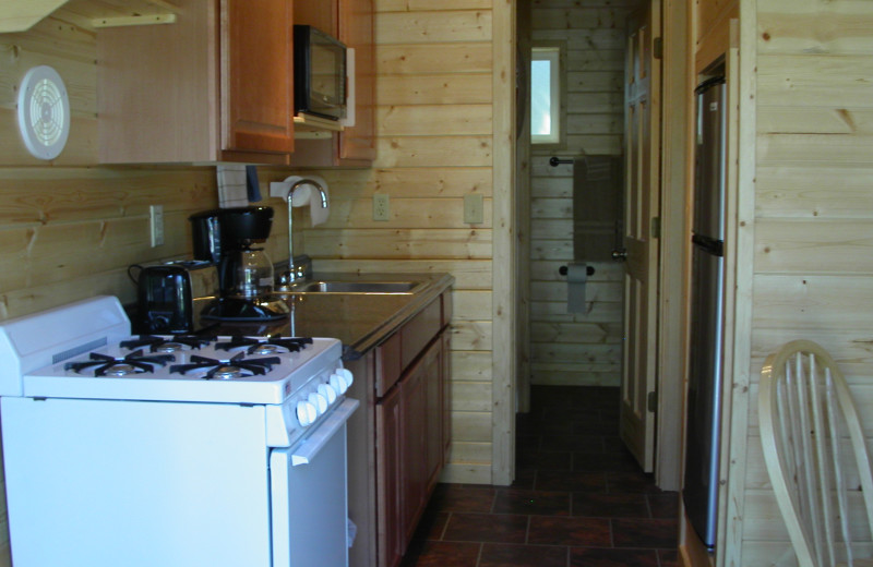 Cabin kitchen at Klondike Cabins.