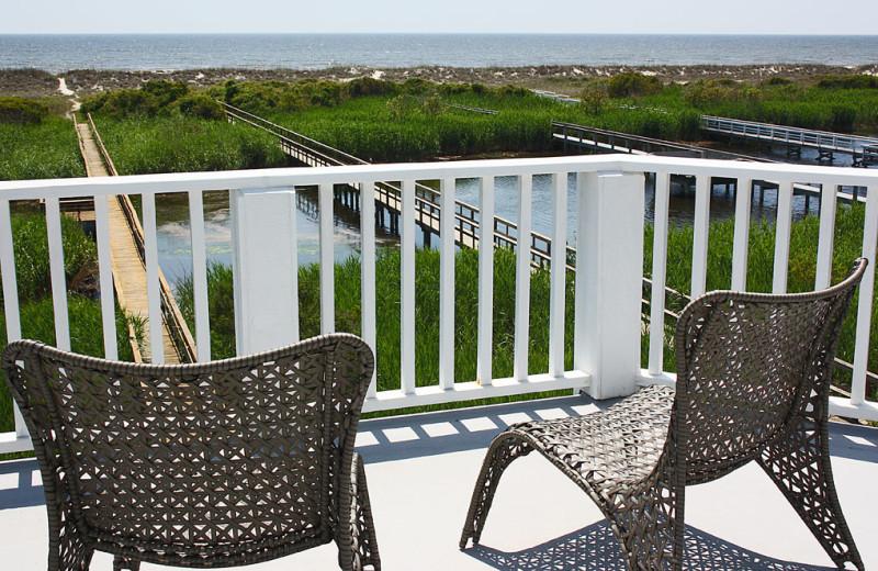 Rental balcony at Oak Island Accomodations.