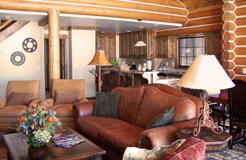 Cabin living room at Teton Springs Lodge.