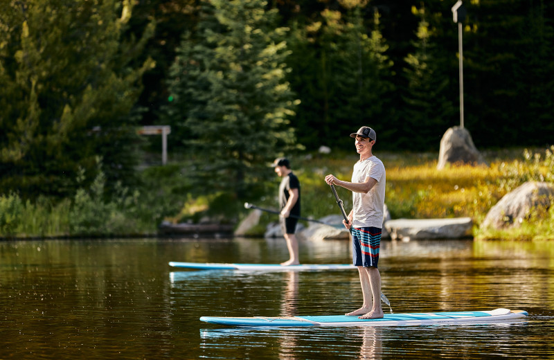 Paddle board at CMH Bugaboos Lodge.